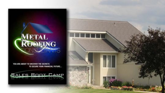 image of metal roofing on a home and brochure for metal roofing consultants training boot camp